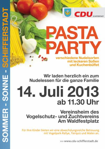 14.07.2013: Pasta-Party im Vogelpark - Plakat